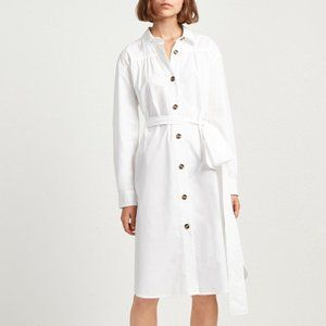 French Connection White Button Up Shirt Dress